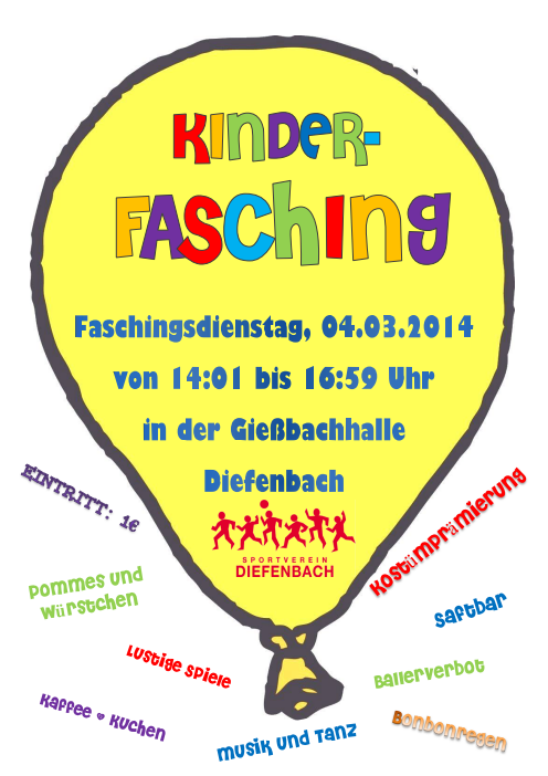 Kinderfasching am 04.03.2014 von 14:01 bis 16:59 Uhr in der Gießbachhalle